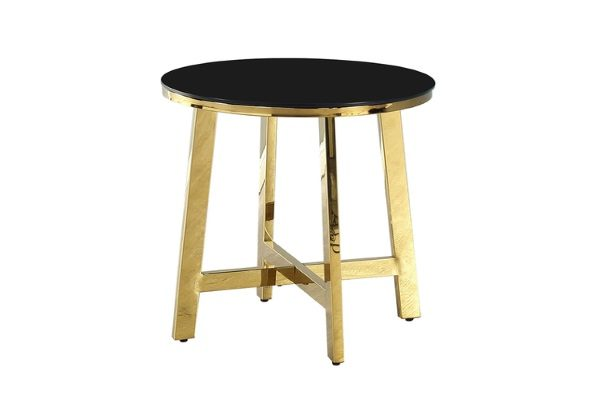 Журнальный стол АЛЬБА золото стекло черное купить в салоне-студии мебели Барселона mnogospalen.ru много спален мебель Италии классические современные
